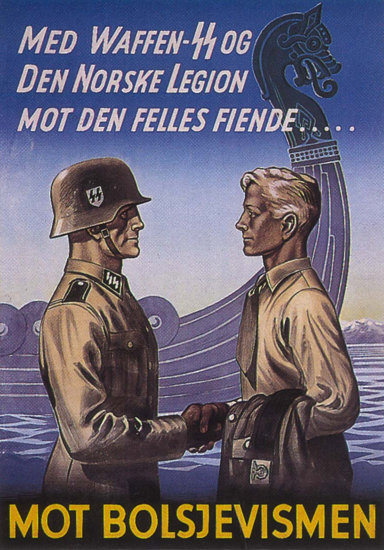 Med Waffen SS Den Norske Legion Netherlands | Vintage War Propaganda Posters 1891-1970