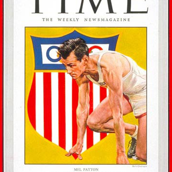 Mel Patton Time Magazine 1948-08 by Boris Chaliapin crop | Best of Vintage Cover Art 1900-1970