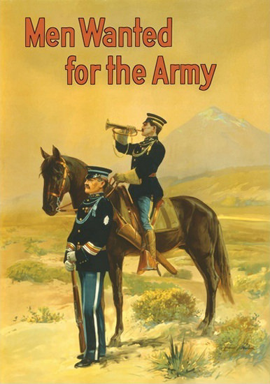 Men Wanted For The Army Soldier Trumpeter | Vintage War Propaganda Posters 1891-1970