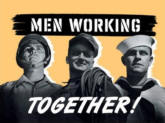 Men Working Together Soldier Worker Sailor | Vintage War Propaganda Posters 1891-1970