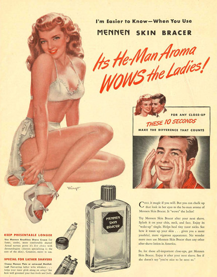 Mennen Pin-Up Girl He-Man-Aroma WOWS Ladies | Sex Appeal Vintage Ads and Covers 1891-1970