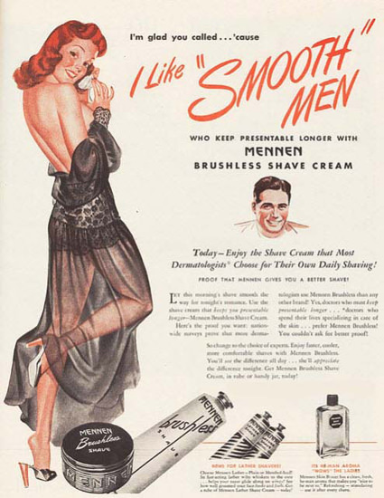 Mennen Shave Cream Girl I Like Smooth Men | Sex Appeal Vintage Ads and Covers 1891-1970