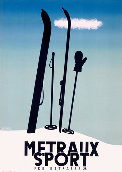 Metraux Sport Freiestrasse Basel Schweiz Ski | Vintage Ad and Cover Art 1891-1970
