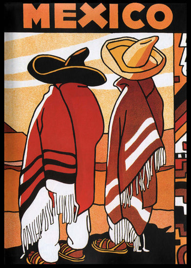 Mexico Two Mexicans with Poncho | Vintage Travel Posters 1891-1970