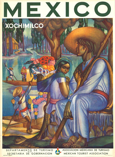 Mexico Xochimilco 1940s | Vintage Travel Posters 1891-1970