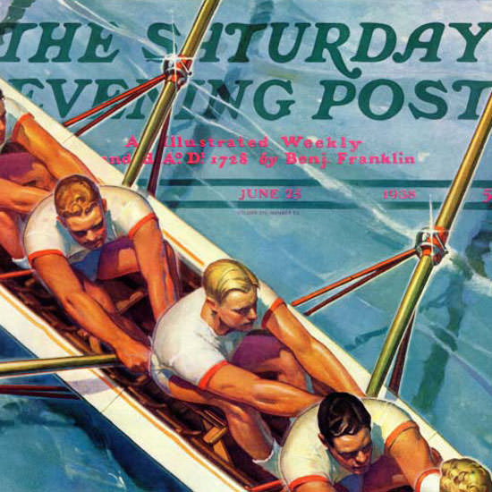Michael Dolas Saturday Evening Post Scullers 1938_06_25 Copyright crop | Best of 1930s Ad and Cover Art