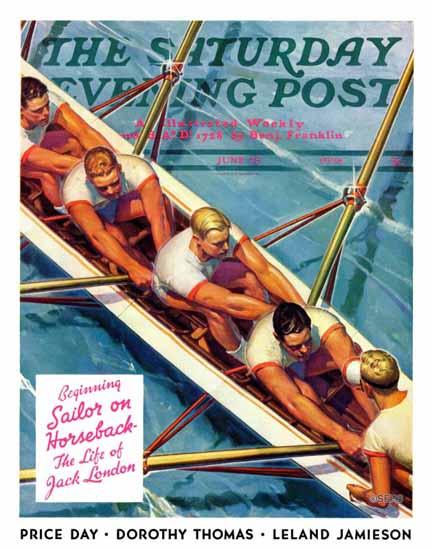 Michael Dolas Saturday Evening Post Scullers 1938_06_25 | The Saturday Evening Post Graphic Art Covers 1931-1969