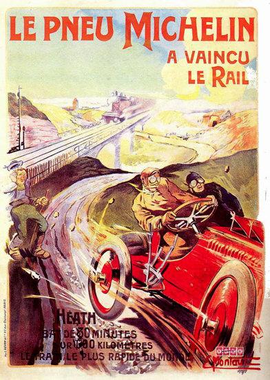 Michelin Pneu A Vaincu Le Rail 1905 | Vintage Ad and Cover Art 1891-1970