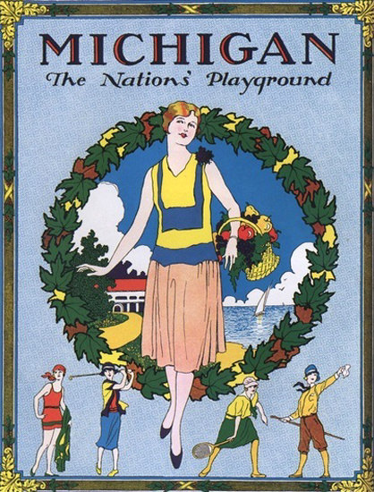 Michigan The Nations Playground | Vintage Travel Posters 1891-1970