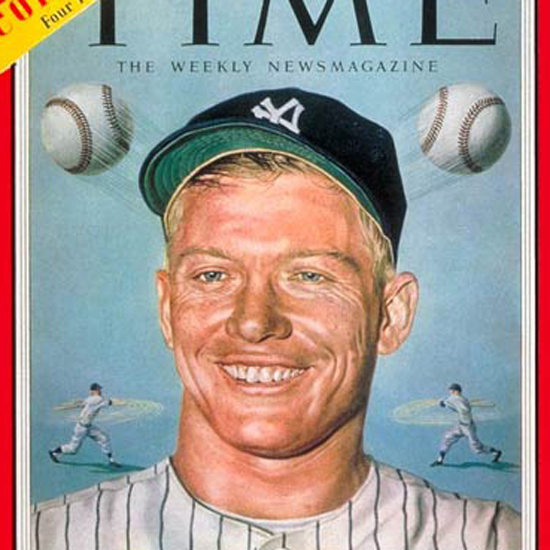 Mickey Mantle Time Magazine 1953-06 by Boris Chaliapin crop | Best of Vintage Cover Art 1900-1970