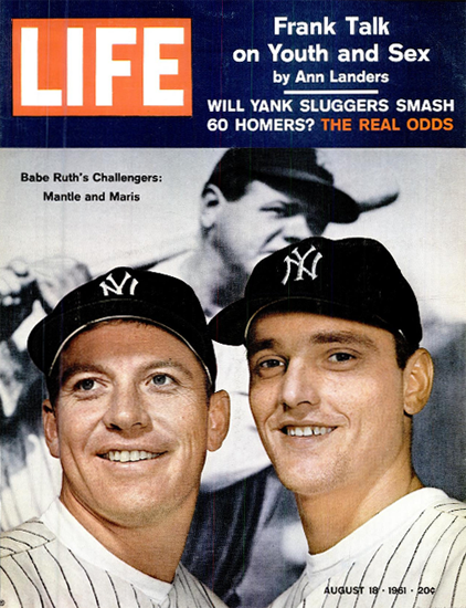 Mickey Mantle and Roger Maris 18 Aug 1961 Copyright Life Magazine | Life Magazine Color Photo Covers 1937-1970