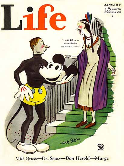 Mickey Mouse Surprise Life Humor Magazine 1934-01 Copyright | Life Magazine Graphic Art Covers 1891-1936