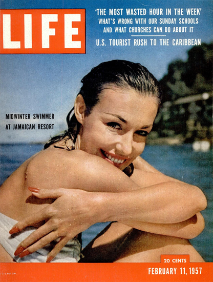Midwinter Swimmer in Jamaica 11 Feb 1957 Copyright Life Magazine | Life Magazine Color Photo Covers 1937-1970