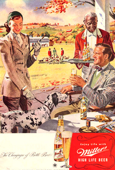 Miller High Life Beer Champagne Bottle Beer 1947 | Vintage Ad and Cover Art 1891-1970