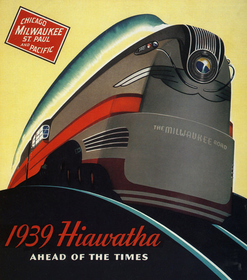 Milwaukee Road Hiawatha Ahead Of Times 1939 | Vintage Travel Posters 1891-1970