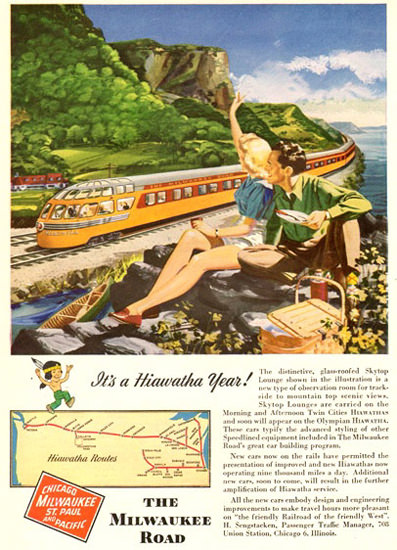 Milwaukee Road Its A Hiawatha Year 1948 | Vintage Travel Posters 1891-1970