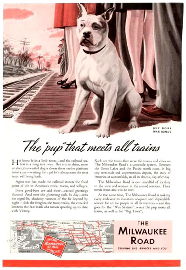 Milwaukee Road Pup That Meets All Trains 1943 | Vintage Travel Posters 1891-1970