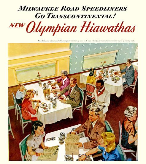 Milwaukee Road Speedliners Olymian Hiawathas | Vintage Travel Posters 1891-1970