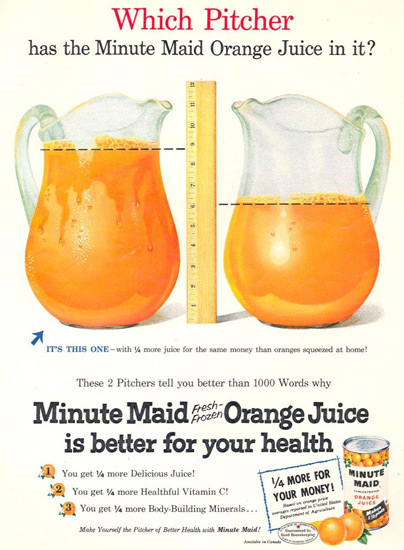 Minute Maid 1955 Fresh Frozen Orange Juice   Vintage Ad and Cover Art 1891-1970