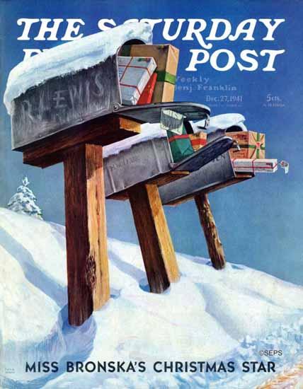 Miriam Tana Hoban Saturday Evening Post Mailboxes in Snow 1941_12_27 | The Saturday Evening Post Graphic Art Covers 1931-1969