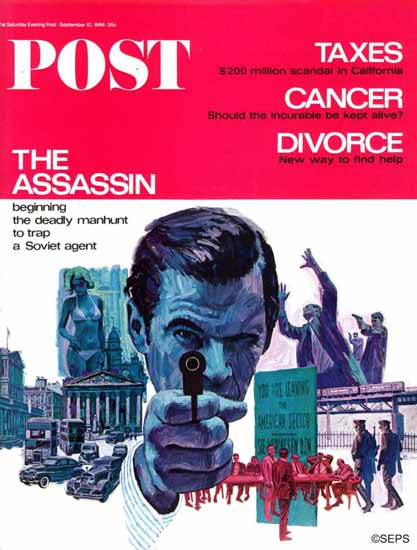 Mitchell Hooks Saturday Evening Post The Assassin 1966_09_10 | The Saturday Evening Post Graphic Art Covers 1931-1969
