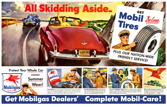 Mobil Tires All Skidding Aside DeLuxe 1949   Vintage Ad and Cover Art 1891-1970