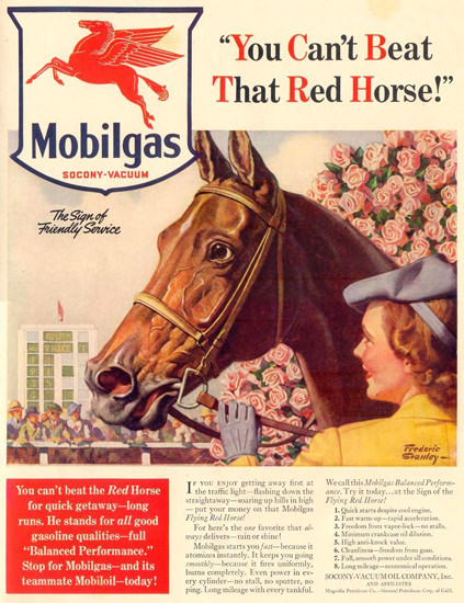 Mobilgas Cant Beat That Red Horse 1940 | Vintage Ad and Cover Art 1891-1970