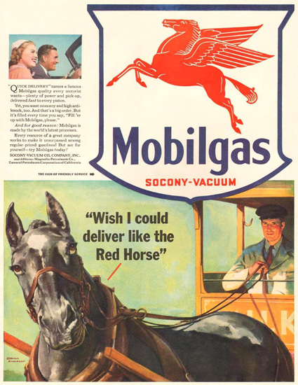 Mobilgas Deliver Like The Red Horse 1941 | Vintage Ad and Cover Art 1891-1970