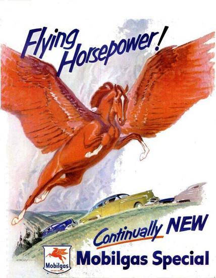 Mobilgas Flying Horsepower 1950 Pegasus | Vintage Ad and Cover Art 1891-1970