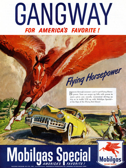 Mobilgas Gangway For Americas Favorite 1949 | Vintage Ad and Cover Art 1891-1970