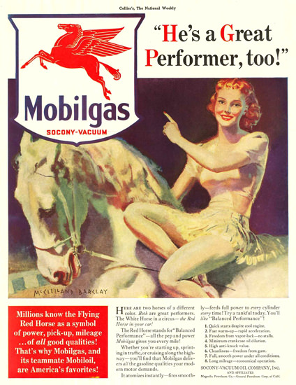 Mobilgas PinUp Girl Red Horse Socony-Vacuum | Sex Appeal Vintage Ads and Covers 1891-1970