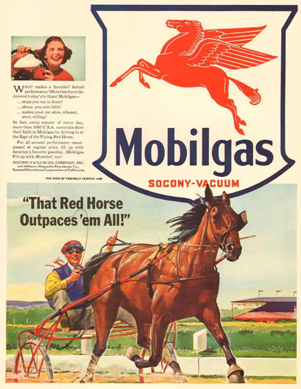 Mobilgas Red Horse Outpaces Em All 1941 | Vintage Ad and Cover Art 1891-1970