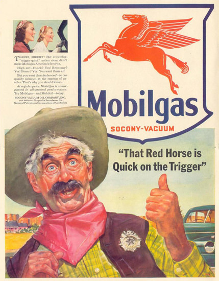 Mobilgas Red Horse Quick On The Trigger 1941 | Vintage Ad and Cover Art 1891-1970