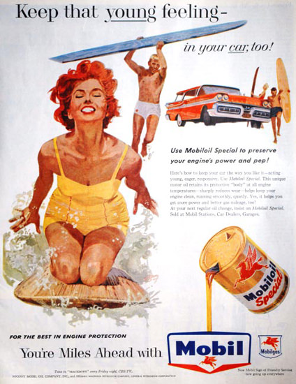 Mobiloil Beach Girl That Young Feeling 1958 | Sex Appeal Vintage Ads and Covers 1891-1970