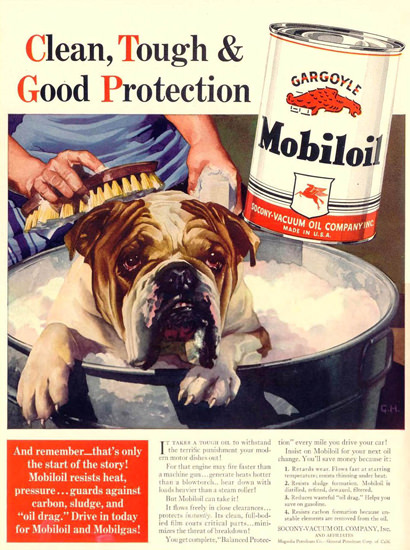 Mobiloil Dog Clean Tough Good Protection 1940 | Vintage Ad and Cover Art 1891-1970