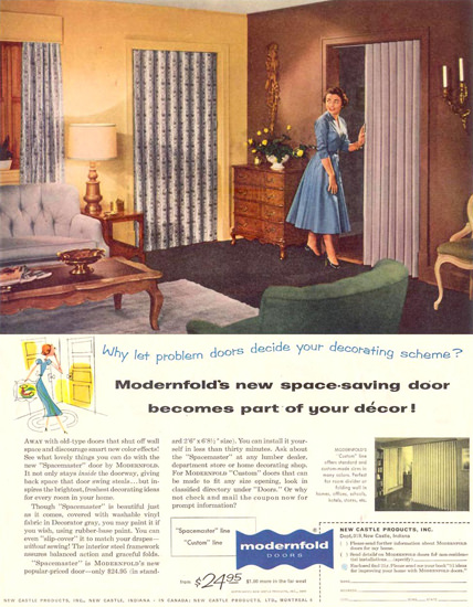Modernfold Doors 1955 | Vintage Ad and Cover Art 1891-1970