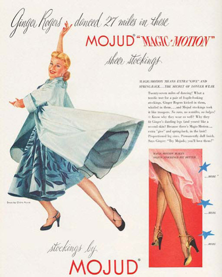 Mojud Ginger Rogers Magic Motion Stockings 1951 | Sex Appeal Vintage Ads and Covers 1891-1970