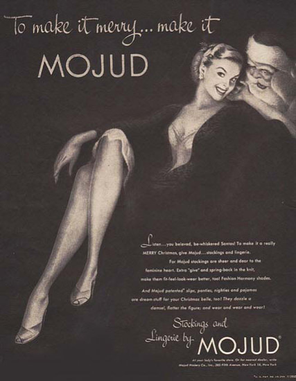 Mojud Stockings And Lingerie To Make It Merry | Sex Appeal Vintage Ads and Covers 1891-1970