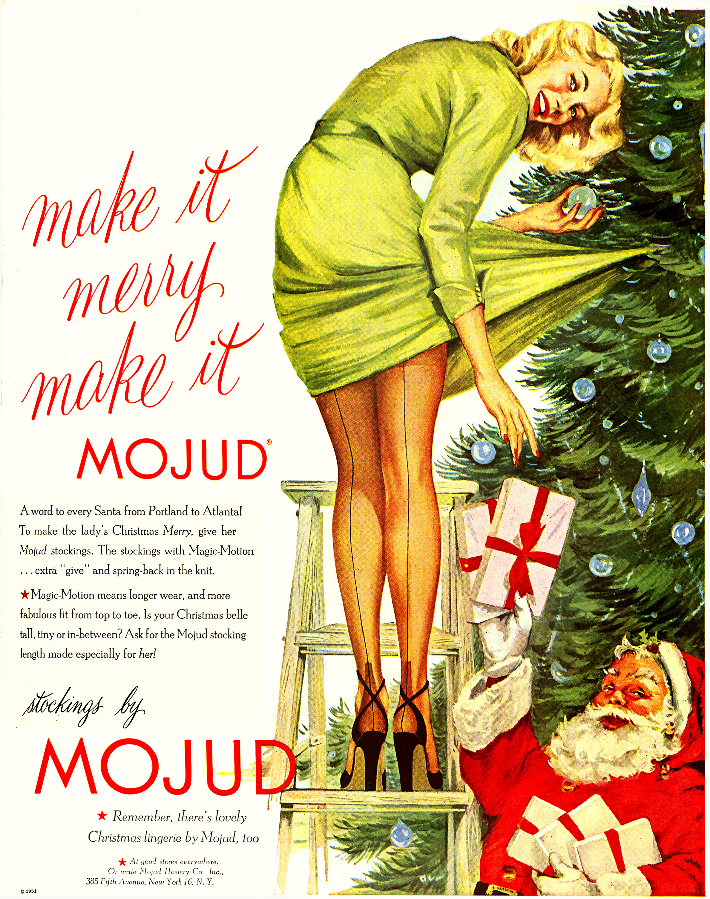Mojud Stockings Christmas Girl In High Heels 1951 | Sex Appeal Vintage Ads and Covers 1891-1970