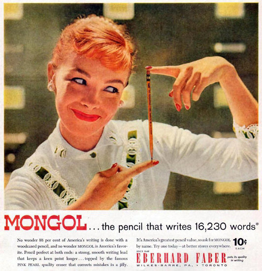 Mongol Pencil Eberhard Faber Girl 1957 | Sex Appeal Vintage Ads and Covers 1891-1970