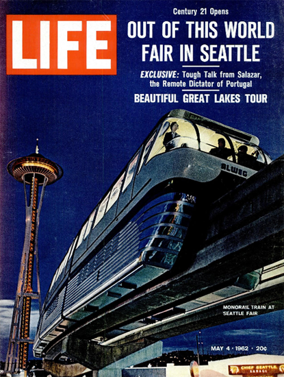 Monorail Train at Seattle Fair 4 May 1962 Copyright Life Magazine | Life Magazine Color Photo Covers 1937-1970