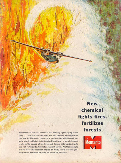 Monsanto Chemicals Fights Fires 1963 | Vintage Ad and Cover Art 1891-1970