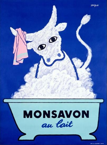 Monsavon Au Lait Soap Cow Raymond Savignac   Vintage Ad and Cover Art 1891-1970