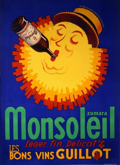 Monsoleil Les Bon Vins Guillot Wine Sun | Vintage Ad and Cover Art 1891-1970