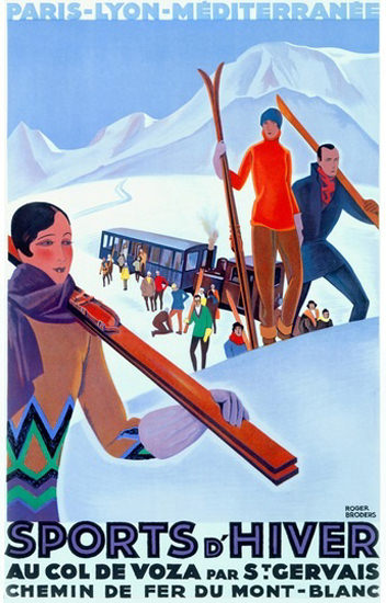 Mont-Blanc Col De Voza St Gervais Skiing Area | Vintage Travel Posters 1891-1970