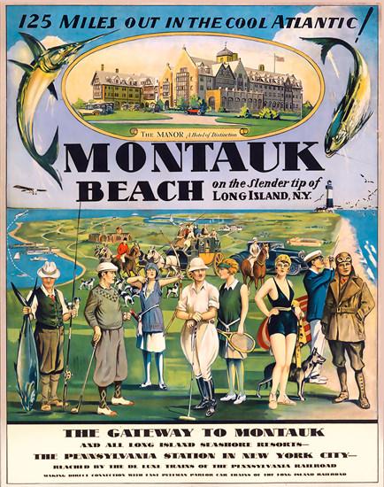 Montauk Beach The Manor Hotel | Vintage Travel Posters 1891-1970