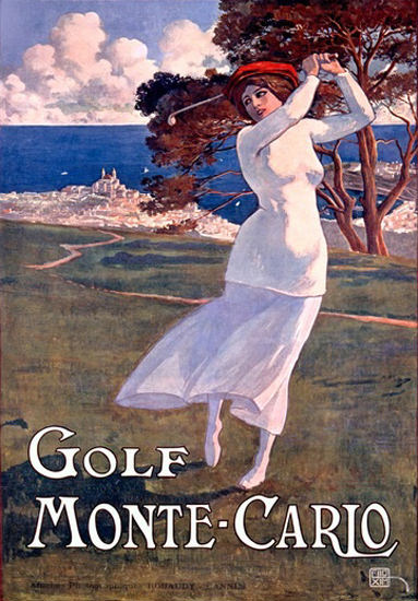 Monte-Carlo Golf Girl | Vintage Travel Posters 1891-1970