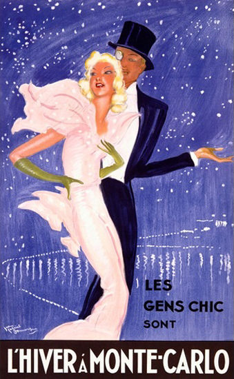 Monte-Carlo L Hiver Les Gens Chic Domergue | Sex Appeal Vintage Ads and Covers 1891-1970