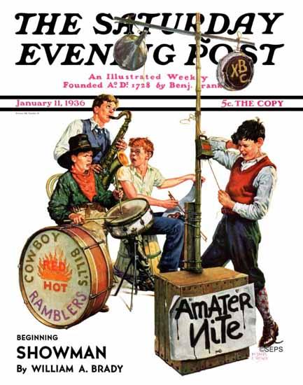 Monte Crews Saturday Evening Post Amateur Night 1936_01_11 | The Saturday Evening Post Graphic Art Covers 1931-1969