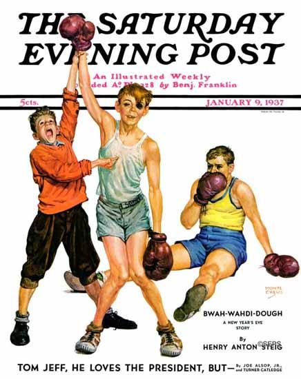 Monte Crews Saturday Evening Post Boxing Champ 1937_01_09 | The Saturday Evening Post Graphic Art Covers 1931-1969